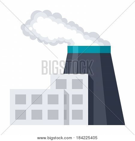 Industrial building factory, vector illustration in flat style