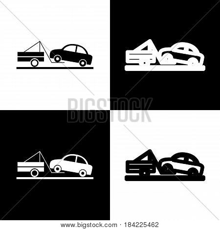 Tow truck sign. Vector. Black and white icons and line icon on chess board.