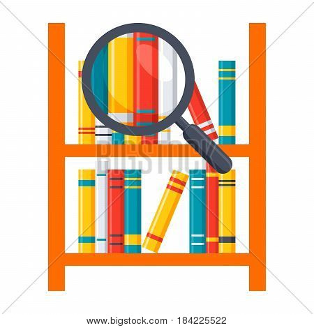 Library science concept with bookshelves and magnifying glass, vector illustration in flat style