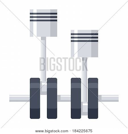 Mechanical engineering concept with pistons and crankshaft, vector illustration