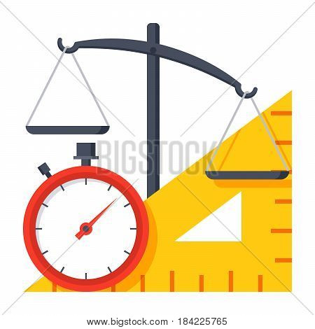 Metrology concept with scales, ruler and stopwatch, vector illustration in flat style