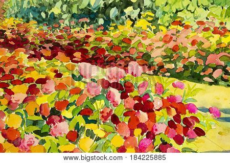 Abstract watercolor original landscape painting colorful of beauty flowers in garden background. Hand painted illustration.