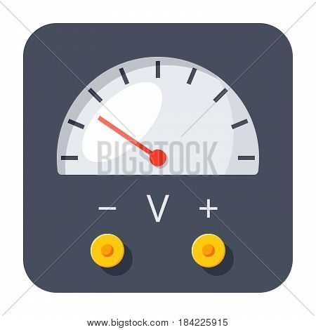 Physics concept with voltmeter, vector illustration in flat style