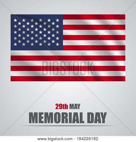 Honoring all who served banner for memorial day. American flag on gray background