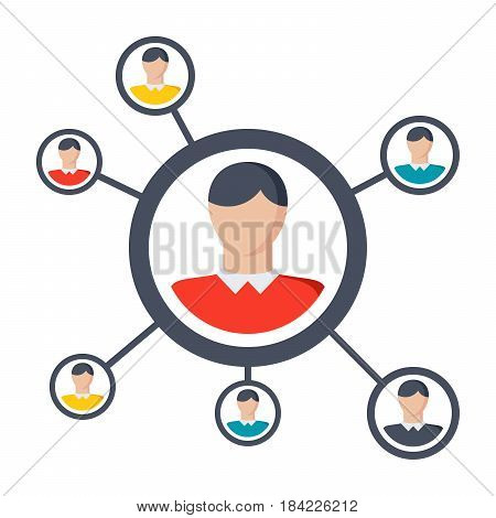 Sociology concept with human communication, vector illustration in flat style