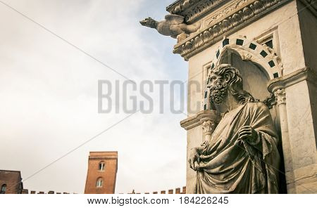 Statue on a Cathedral in Siena Italy