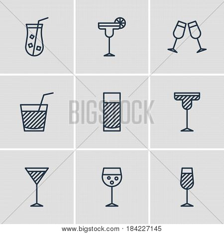 Vector Illustration Of 9  Icons. Editable Pack Of Celebrate, Beverage, Martini And Other Elements.