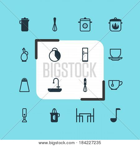 Vector Illustration Of 16 Cooking Icons. Editable Pack Of Carafe, Steamer, Washstand Elements.