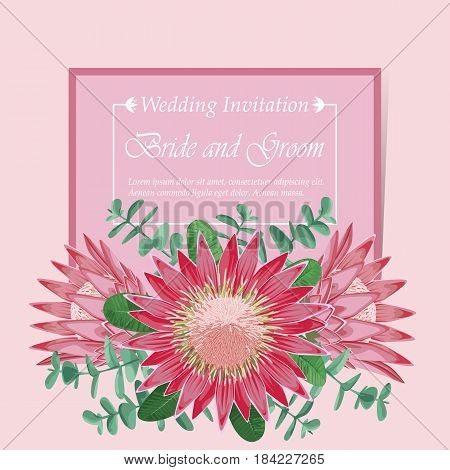 Wedding invitation with bride bouquet. Tropic romantic floral mock up. Template for postcards, wedding invitations, templates, greeting cards.