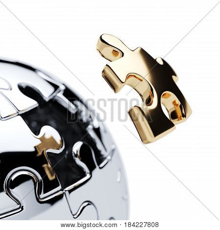 Chrome silver spherical jigsaw puzzle with gold segment isolated on white background. 3d rendering illustration