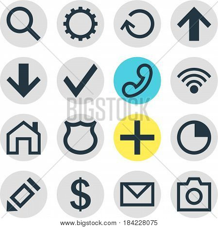 Vector Illustration Of 16 Member Icons. Editable Pack Of Renovate, Stopwatch , Handset Elements.
