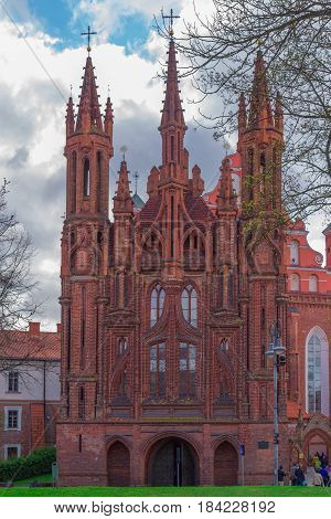Castel saint Anna and Francis of Assisi churches in Vilnius, Lithuania.