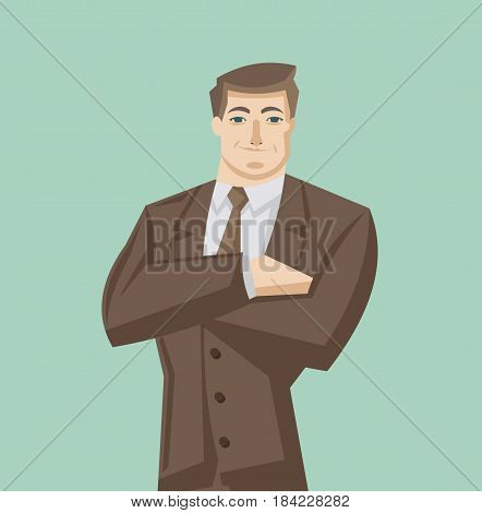 Male avatar icon in flat style. Male user icon. Cartoon man avatar. Businessman avatar. Vector stock.