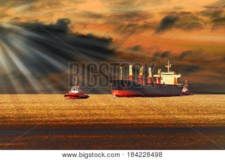 Tugboats towing a large cargo ship on sea.