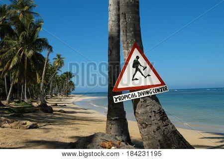 Caribbean beach of playa bonita at Las Terrenas in Dominican Republic