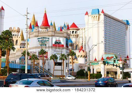 LAS VEGAS Oct 09 2016 Las Vegas Boulevard at Morning,View of Excalibur Hotel and Casino