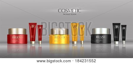 Cosmetic cream package set, attractive blank containers with colorful caps. 3d illustration for makeup promo.