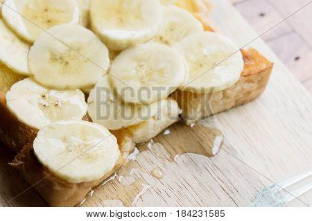 Banana Butter Bread honey Toast banana on wood table