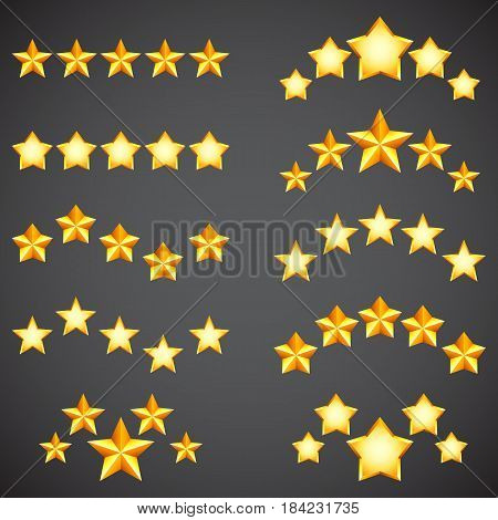 Collection of golden five star rating icons