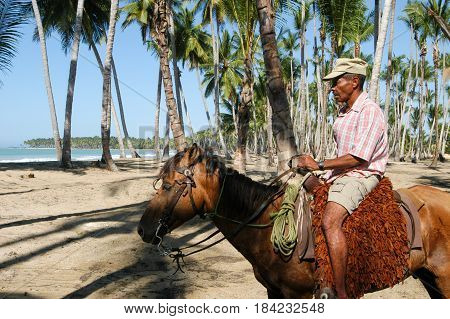 Horseman Riding On The Beach Of Bonita At Las Terrenas