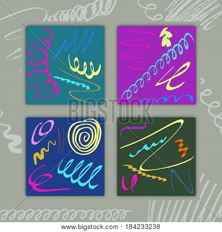 Set of Square Cards with Hand Drawn Colorful Paints Creative Design for Holidays Days Stock Vector Illustration