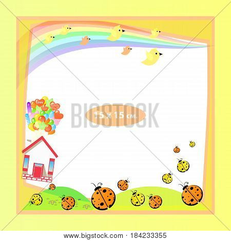 Photo frame for a child. Illustrations for your design. Format for standard photo printing. Format standard photo. square. Yellow frame. Ladybugs are flying