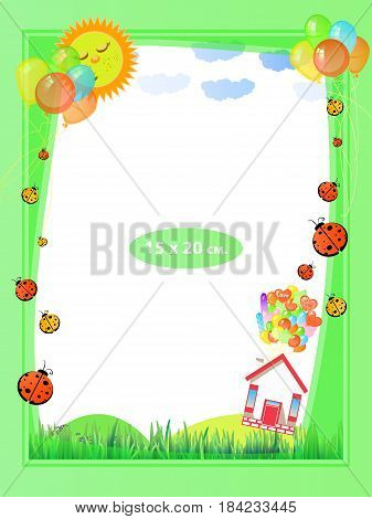 Photo frame for a child. Illustrations for your design. Format for standard photo printing. Standard photo format. Vertical orientation. Ball house