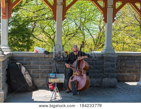 New York NY USA -- April 28 2017 -- A cellist plays music in Belvedere Castle in New York's Central Park . Editorial Use Only.