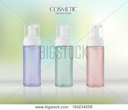 Moisturizing facial wash cosmetic products ads. Mousse nettoyante. Vector promo transparent jar with facial cleaner in 3d illustration.