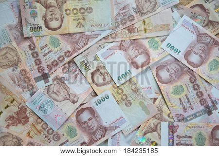 Close up of one thousand Thailand bath banknotes
