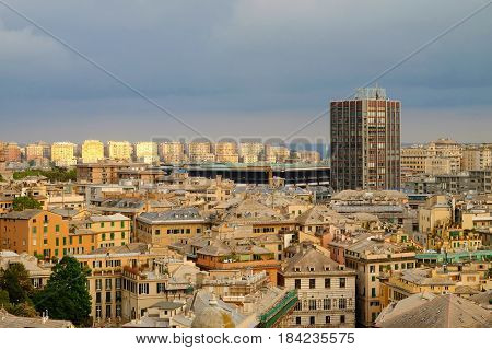 GENOA ITALY - APRIL 24 2017: Architecture of Genoa in light of the evening sun.