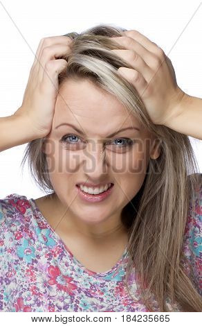 Wicked girl clinging to the head on white background