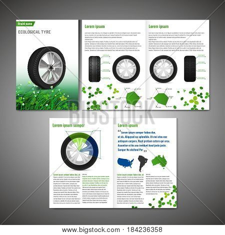 Vector ecological tyre brochure template. Modern idea for flyer, book, booklet, brochure and leaflet design. Editable graphic layout with copyspace in black, white and green colors.