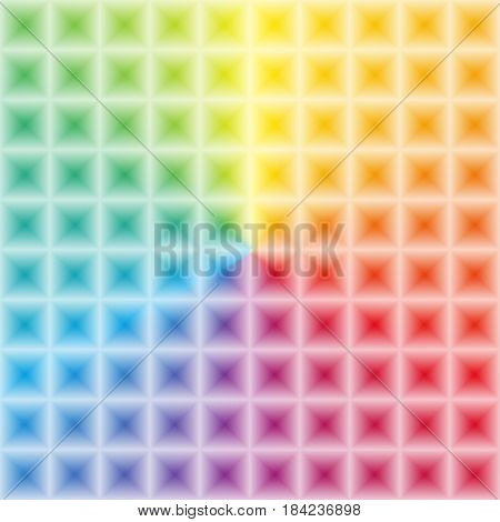 Colorfoul rainbow gradient with 3d illusion effect square light pattern unusual bright and positive wallpaper