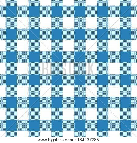 Seamless abstract illustration of blue chechkered (gingham) table cloth vintage or retro styled traditional pattern also for napkin