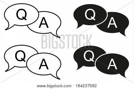 Set of 4 isolated black and white bubbles with question and answer icon usufull for apps forums corporate sites etc.