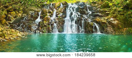 Scenic Cascade Vacoas waterfall. Mauritius island. Panorama