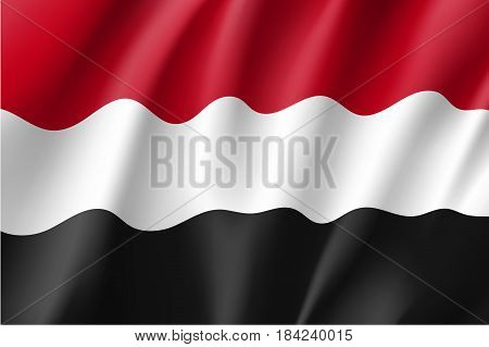 Yemen national flag, fluttering in the wind, educational and political concept, realistic vector illustration