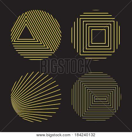 Spirograph style decorative design elements isolated on black background Vector icons set with simple geometric shapes transformations.