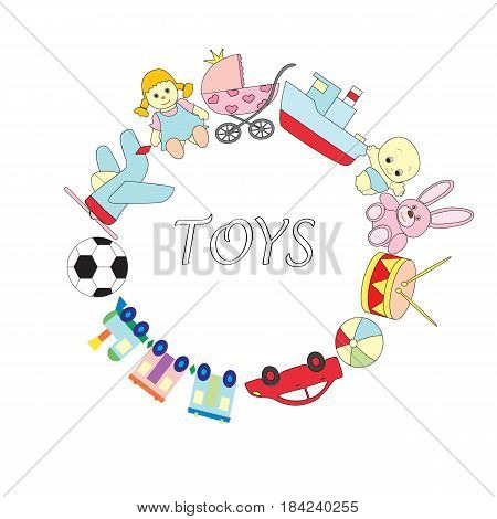A set of children's toys on the white isolated background. A vector picture with the ship, the car, the engine, a doll, a baby doll, a ball, a drum, a hare, a carriage, plane.