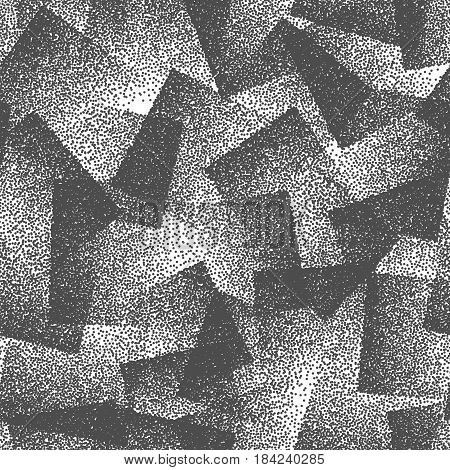 Vector Abstract Stippled Weird Hipster Seamless Pattern. Handmade Tileable Geometric Dotted Grunge White and Black Solid Simple Background. Bizarre Art Illustration