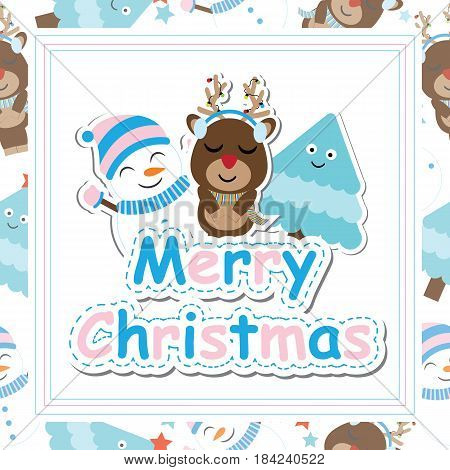 Cute deer, snowman and tree smile vector cartoon, Xmas postcard, wallpaper, and greeting card, T-shirt design for kids