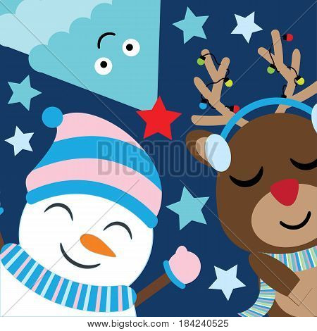 Cute deer, snowman and tree smile on dark blue background vector cartoon, Xmas postcard, wallpaper, and greeting card, T-shirt design for kids