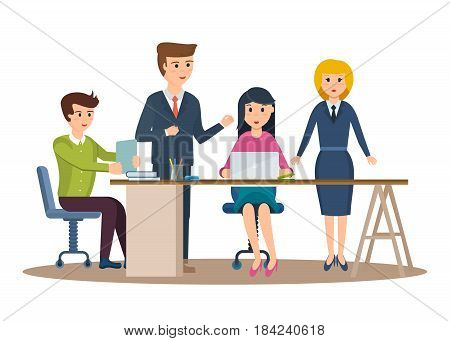 Group of office workers. Set of business characters working in office, business man entrepreneur with colleagues. Modern vector illustration isolated in cartoon style.