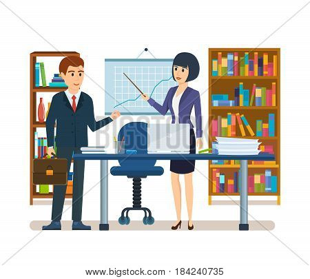 Colleagues near stand and table, girl describes state of affairs in company showing data on graph, process teamwork, partnership between employees. Vector illustration isolated in cartoon style.
