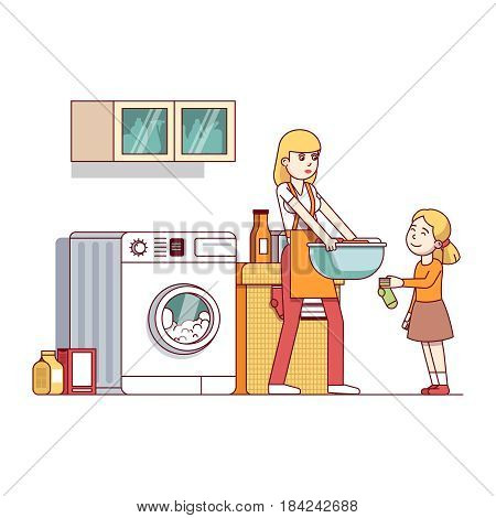 Little girl kid helping her mother chores in laundry room with washing machine, clothes basket. Mum and daughter doing housework together. Flat style vector illustration isolated on white background.