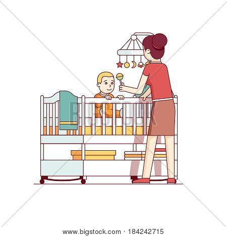 Mother playing with her little baby son sitting in crib bed or cot. Woman looking after newborn boy. Mum and child in kids room. Flat style cartoon vector illustration isolated on white background.