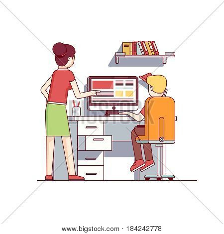 Mother helping her boy son doing homework sitting at desktop computer. Mum helping child in school research on the web. Flat style cartoon vector illustration isolated on white background.