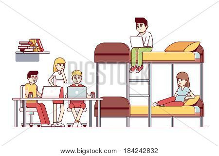 University students friends studying together or doing group project in dorm room. Sitting at the desk with laptop. Teamwork. Flat style cartoon vector illustration isolated on white background.