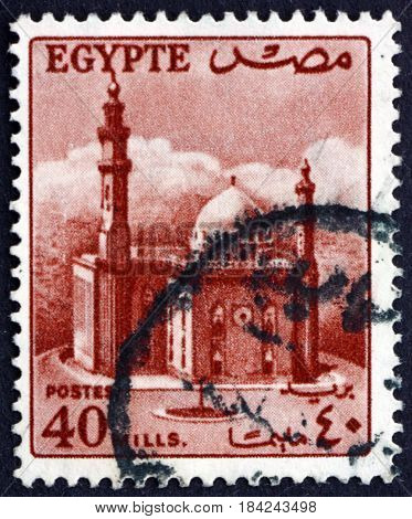 EGYPT - CIRCA 1953: a stamp printed in Egypt shows Sultan Hassan's Mosque circa 1953